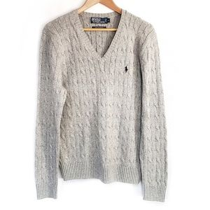 M Polo Tussah Silk Cable Sweater Ralph Lauren Gray
